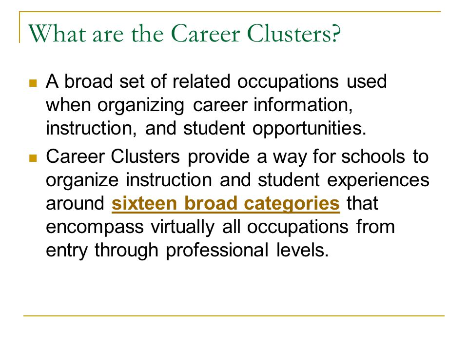 What are the Career Clusters.