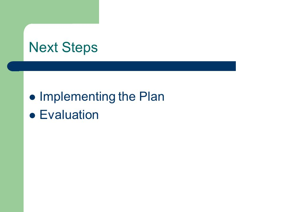 Next Steps Implementing the Plan Evaluation