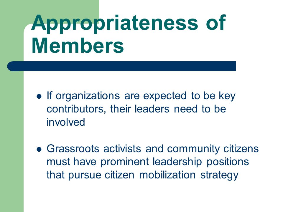 If organizations are expected to be key contributors, their leaders need to be involved Grassroots activists and community citizens must have prominent leadership positions that pursue citizen mobilization strategy Appropriateness of Members
