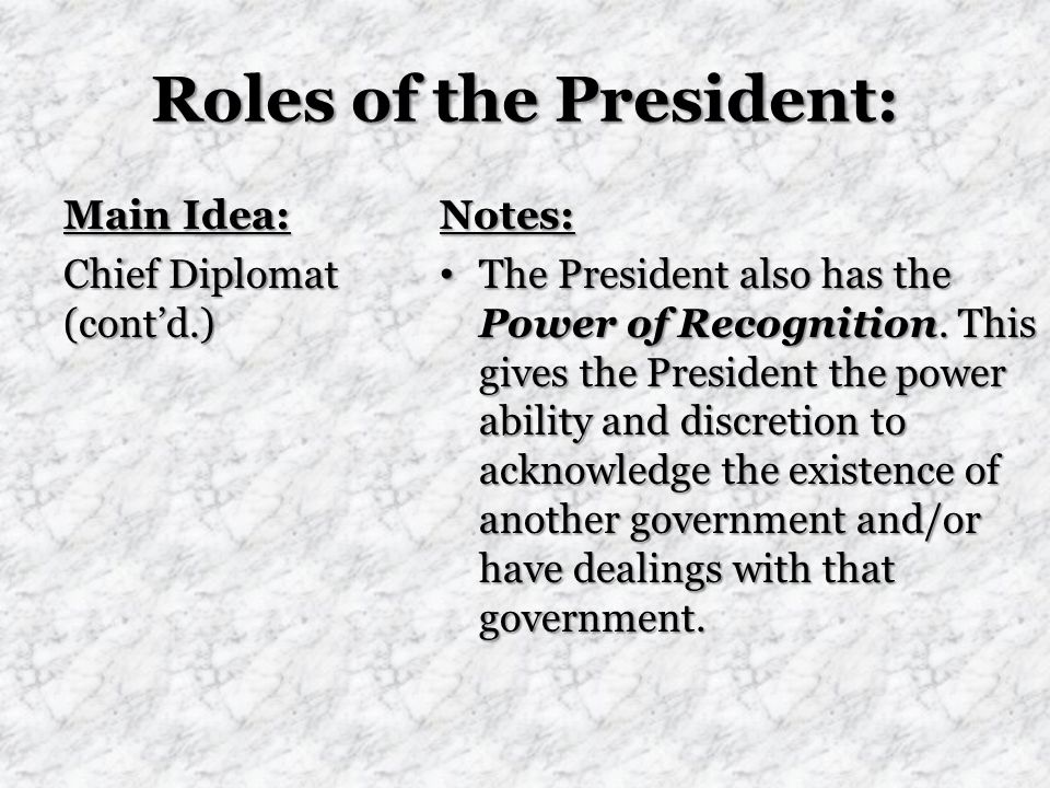 Roles of the President: Main Idea: Chief Diplomat (cont'd.) Notes: The President also has the Power of Recognition.