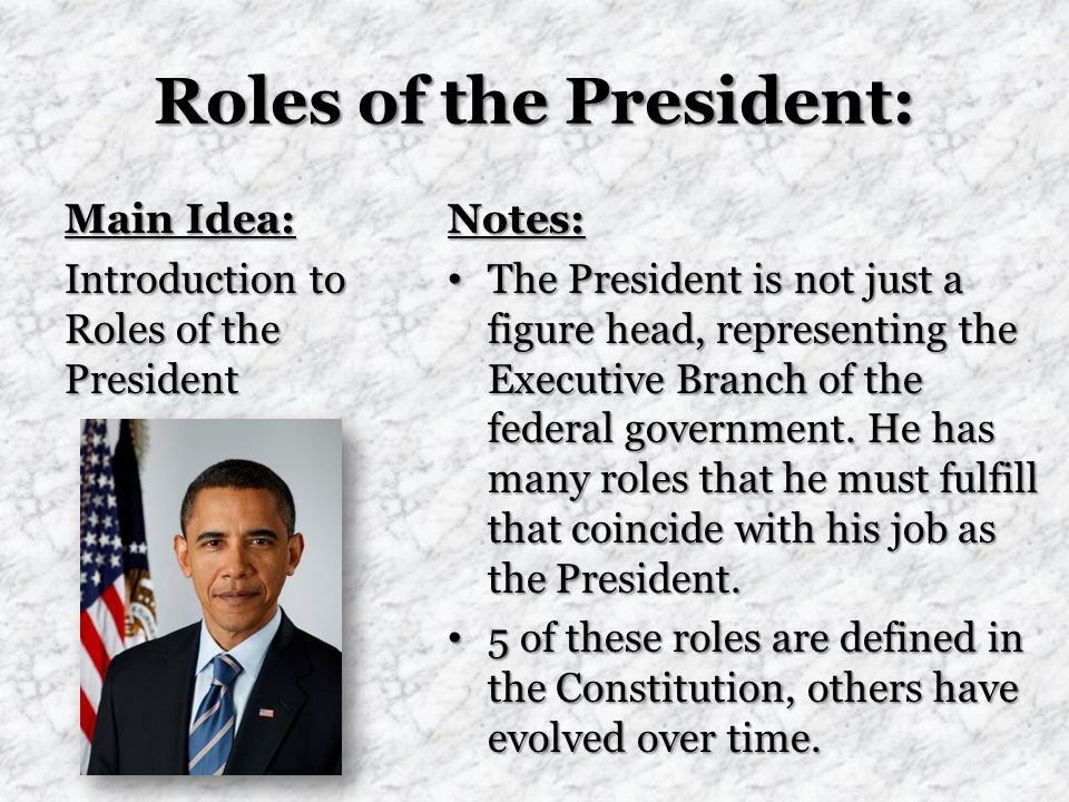 Roles of the President: Main Idea: Introduction to Roles of the President Notes: The President is not just a figure head, representing the Executive Branch of the federal government.