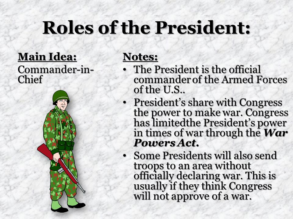 Roles of the President: Main Idea: Commander-in- Chief Notes: The President is the official commander of the Armed Forces of the U.S..