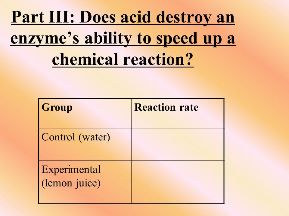 Part III: Does acid destroy an enzyme's ability to speed up a chemical reaction.