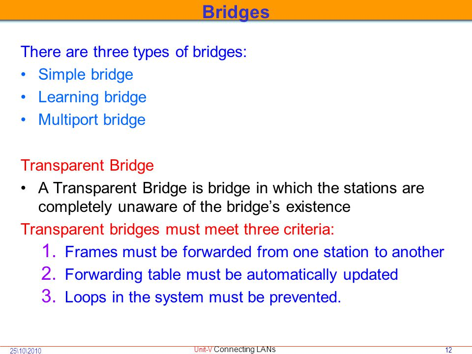 12 25\10\2010 Unit-V Connecting LANs There are three types of bridges: Simple bridge Learning bridge Multiport bridge Transparent Bridge A Transparent Bridge is bridge in which the stations are completely unaware of the bridge's existence Transparent bridges must meet three criteria: 1.