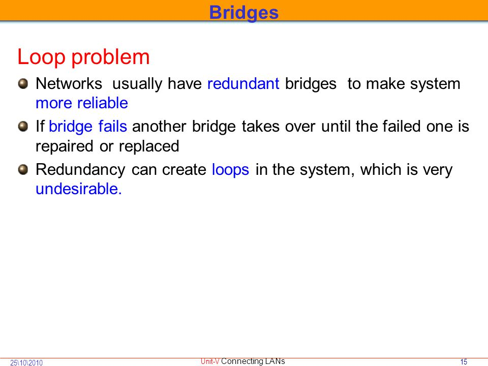 15 25\10\2010 Unit-V Connecting LANs Loop problem Networks usually have redundant bridges to make system more reliable If bridge fails another bridge takes over until the failed one is repaired or replaced Redundancy can create loops in the system, which is very undesirable.