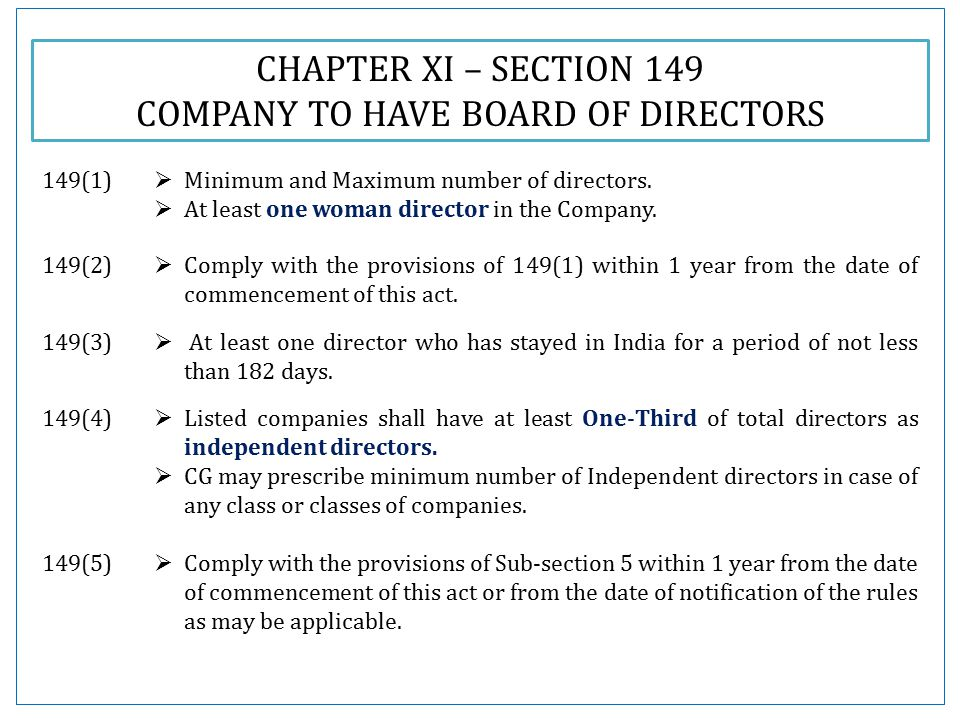 CHAPTER XI – SECTION 149 COMPANY TO HAVE BOARD OF DIRECTORS 149(1)  Minimum and Maximum number of directors.