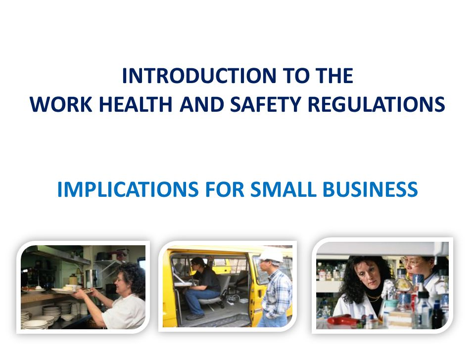 INTRODUCTION TO THE WORK HEALTH AND SAFETY REGULATIONS IMPLICATIONS FOR SMALL BUSINESS