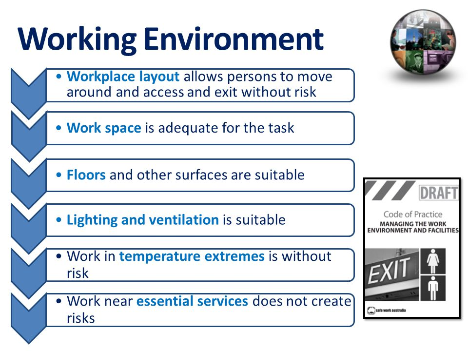 Working Environment Workplace layout allows persons to move around and access and exit without risk Work space is adequate for the taskFloors and other surfaces are suitableLighting and ventilation is suitable Work in temperature extremes is without risk Work near essential services does not create risks