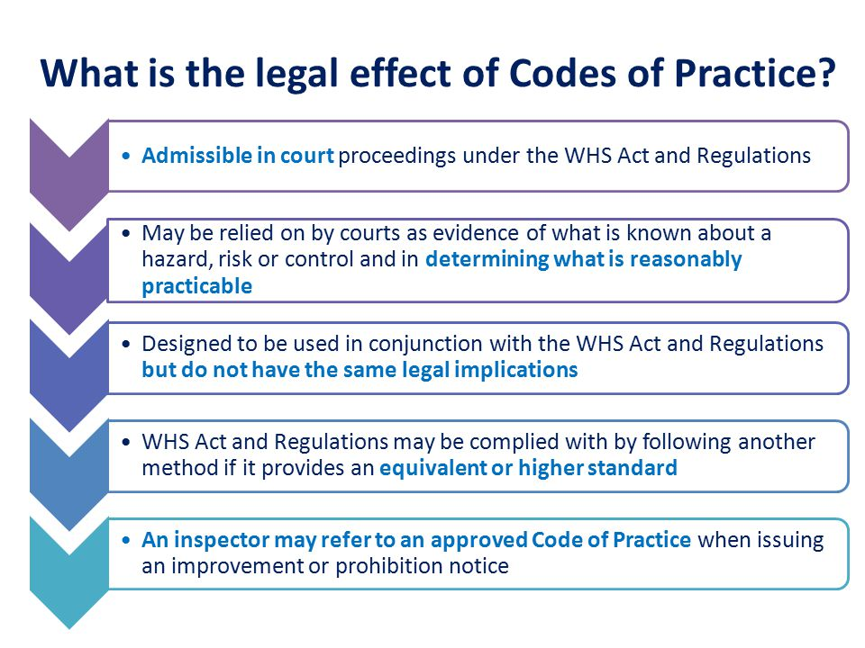 Admissible in court proceedings under the WHS Act and Regulations May be relied on by courts as evidence of what is known about a hazard, risk or control and in determining what is reasonably practicable Designed to be used in conjunction with the WHS Act and Regulations but do not have the same legal implications WHS Act and Regulations may be complied with by following another method if it provides an equivalent or higher standard An inspector may refer to an approved Code of Practice when issuing an improvement or prohibition notice What is the legal effect of Codes of Practice