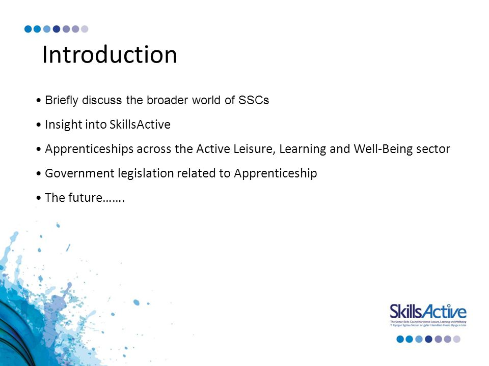 Introduction Briefly discuss the broader world of SSCs Insight into SkillsActive Apprenticeships across the Active Leisure, Learning and Well-Being sector Government legislation related to Apprenticeship The future…….