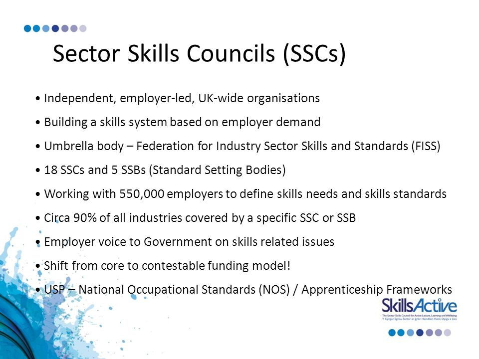 Sector Skills Councils (SSCs) Independent, employer-led, UK-wide organisations Building a skills system based on employer demand Umbrella body – Federation for Industry Sector Skills and Standards (FISS) 18 SSCs and 5 SSBs (Standard Setting Bodies) Working with 550,000 employers to define skills needs and skills standards Circa 90% of all industries covered by a specific SSC or SSB Employer voice to Government on skills related issues Shift from core to contestable funding model.