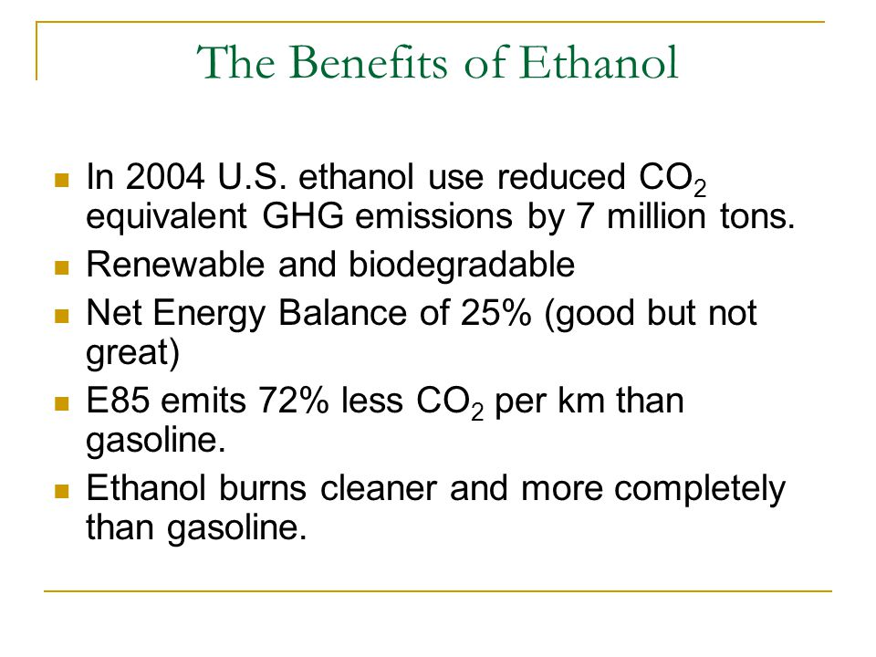 The Benefits of Ethanol In 2004 U.S.
