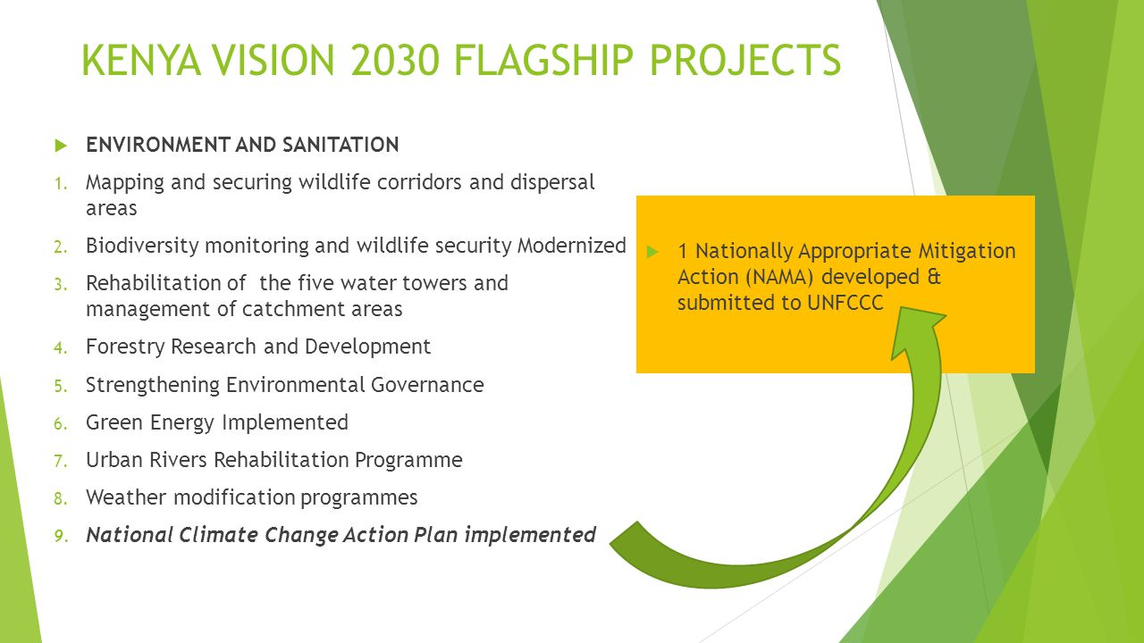 KENYA VISION 2030 FLAGSHIP PROJECTS  ENVIRONMENT AND SANITATION 1.
