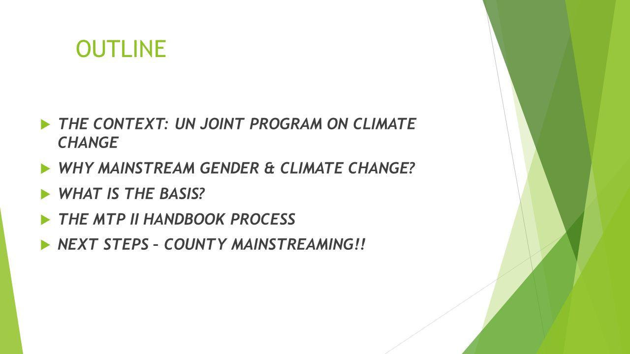 OUTLINE  THE CONTEXT: UN JOINT PROGRAM ON CLIMATE CHANGE  WHY MAINSTREAM GENDER & CLIMATE CHANGE.