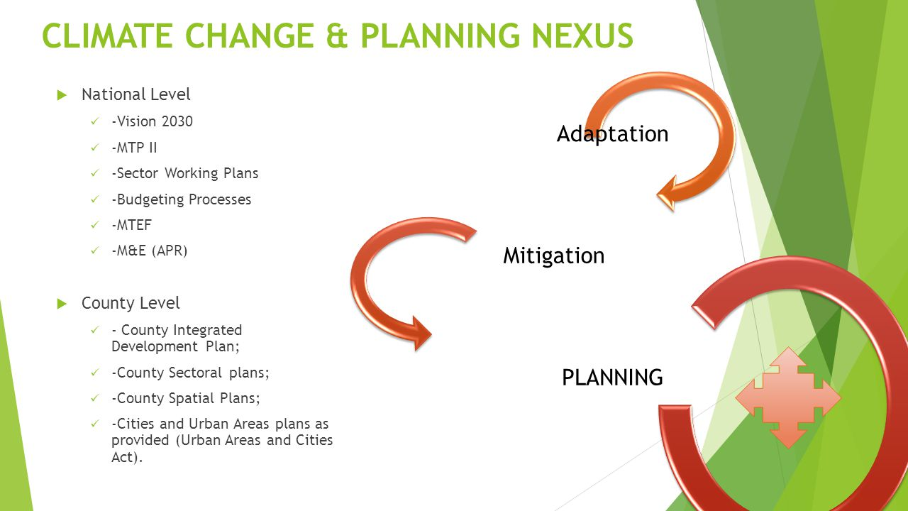 CLIMATE CHANGE & PLANNING NEXUS  National Level -Vision MTP II -Sector Working Plans -Budgeting Processes -MTEF -M&E (APR)  County Level - County Integrated Development Plan; -County Sectoral plans; -County Spatial Plans; -Cities and Urban Areas plans as provided (Urban Areas and Cities Act).