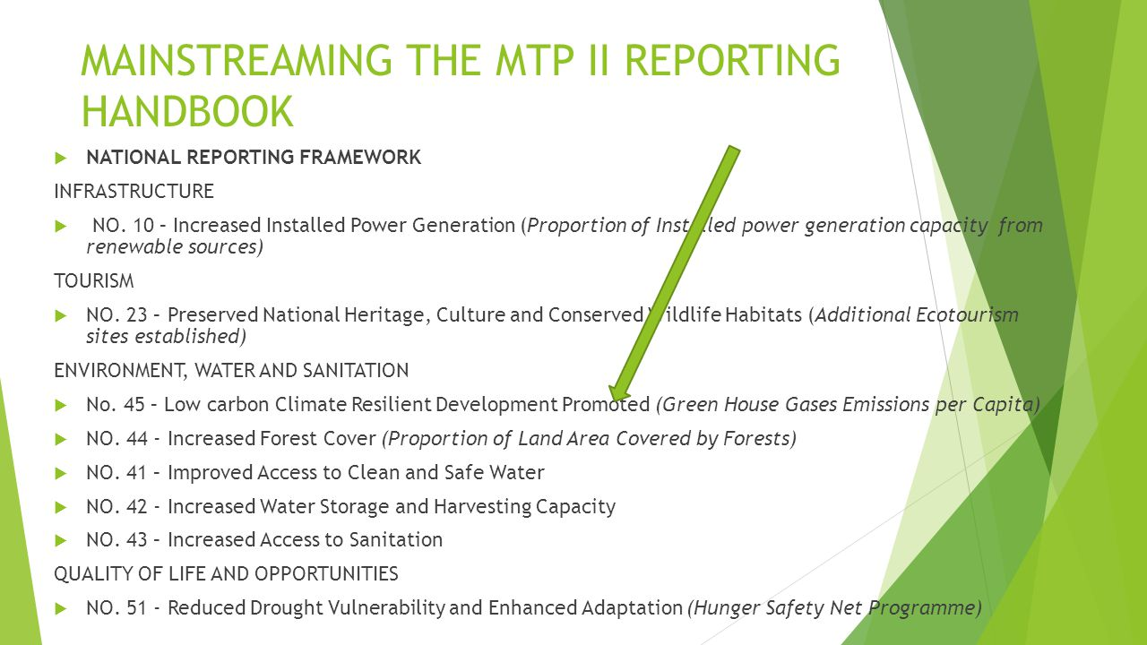 MAINSTREAMING THE MTP II REPORTING HANDBOOK  NATIONAL REPORTING FRAMEWORK INFRASTRUCTURE  NO.