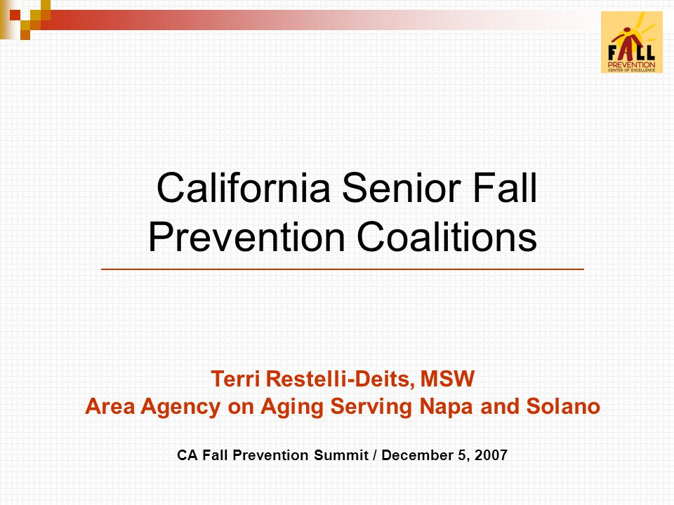 California Senior Fall Prevention Coalitions Terri Restelli-Deits, MSW Area Agency on Aging Serving Napa and Solano CA Fall Prevention Summit / December 5, 2007
