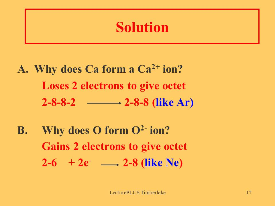LecturePLUS Timberlake17 Solution A. Why does Ca form a Ca 2+ ion.