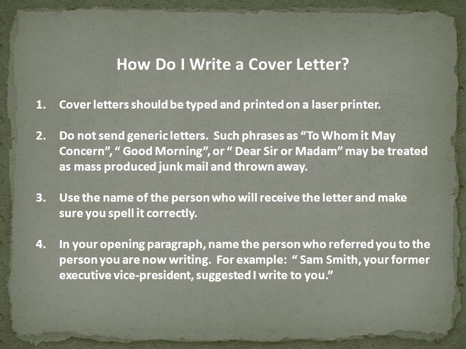 How Do I Write A Cover Letter 1Cover Letters Should Be Typed And