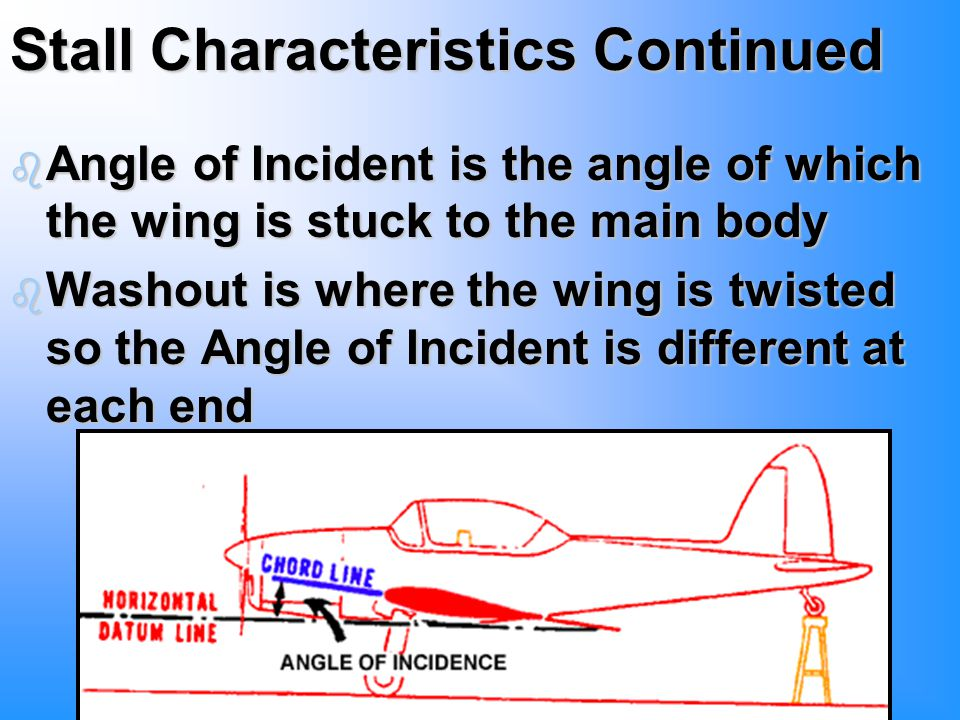 Stall Characteristics Continued b Angle of Incident is the angle of which the wing is stuck to the main body b Washout is where the wing is twisted so the Angle of Incident is different at each end