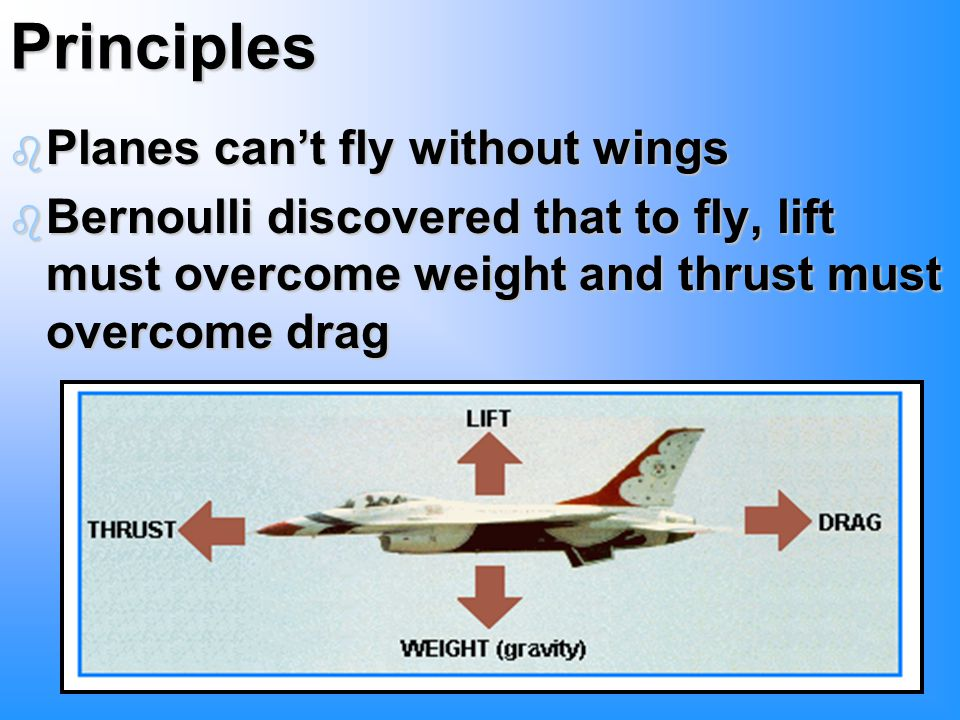 Principles b Planes can't fly without wings b Bernoulli discovered that to fly, lift must overcome weight and thrust must overcome drag