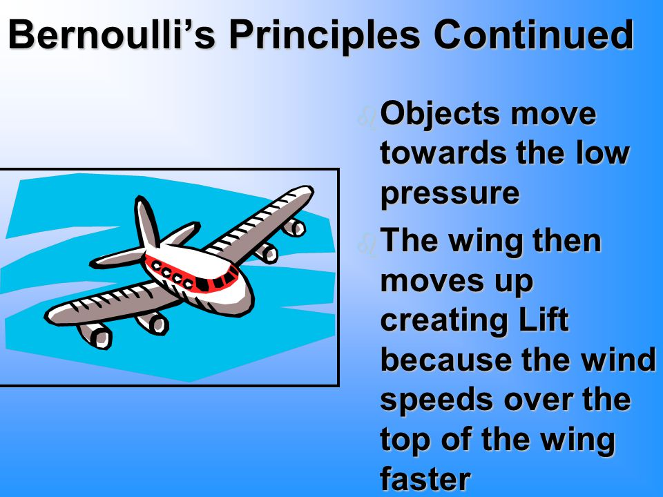 Bernoulli's Principles Continued b Objects move towards the low pressure b The wing then moves up creating Lift because the wind speeds over the top of the wing faster
