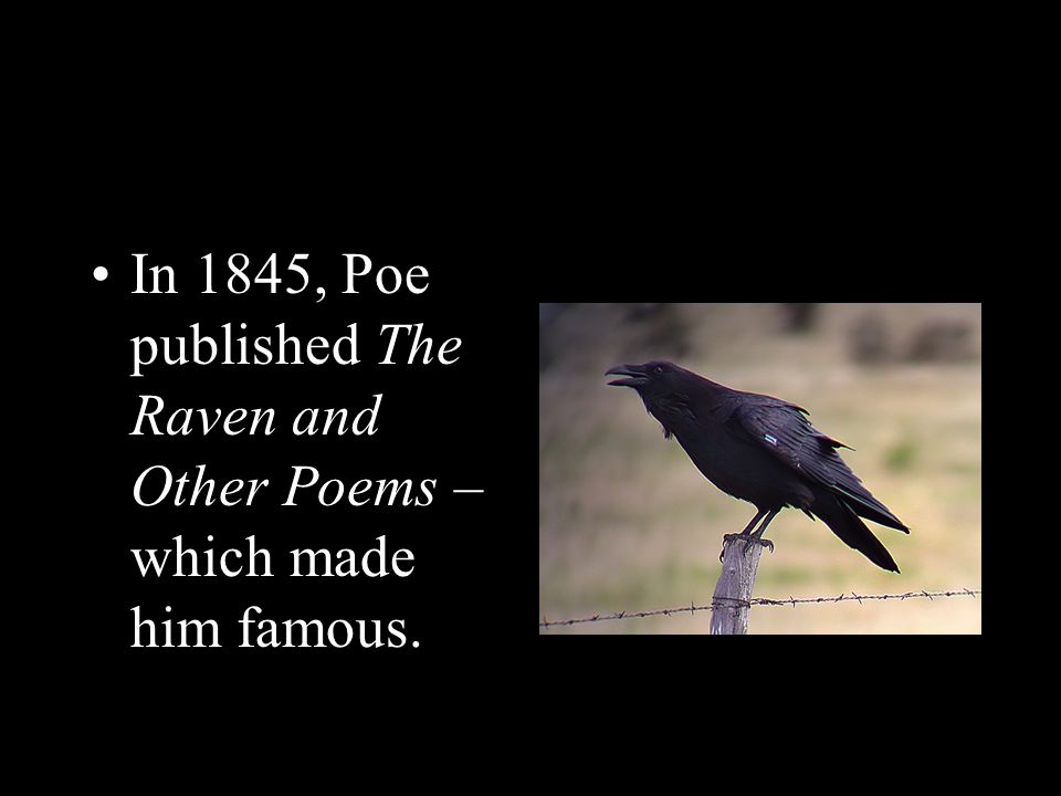 In 1845, Poe published The Raven and Other Poems – which made him famous.