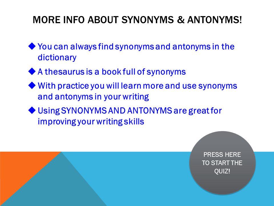 SYNONYMS & ANTONYMS MISS  KARIKAS' 2 ND GRADE CLASS START