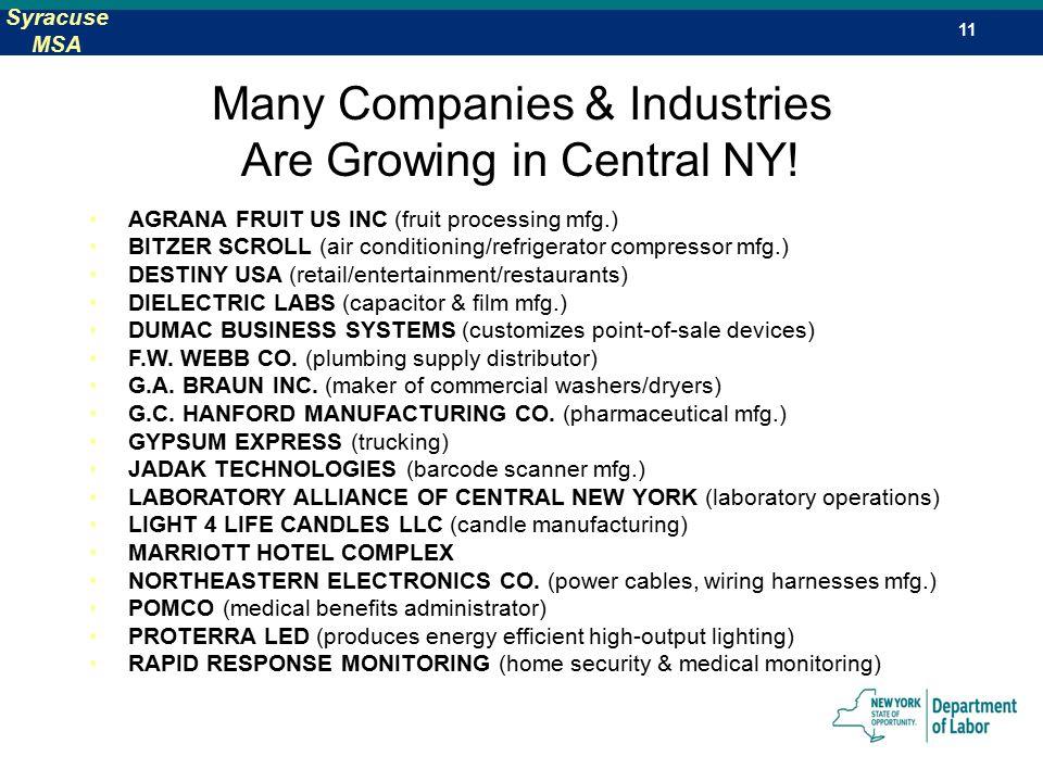 Job Trends Central New York 2 Syracuse Msa Syracuse Metropolitan