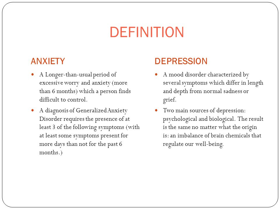 Anxiety and Depression  PREVALENCE ANXIETYDEPRESSION 16+ Million