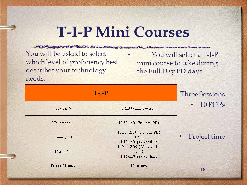 16 You will select a T-I-P mini course to take during the Full Day PD days.