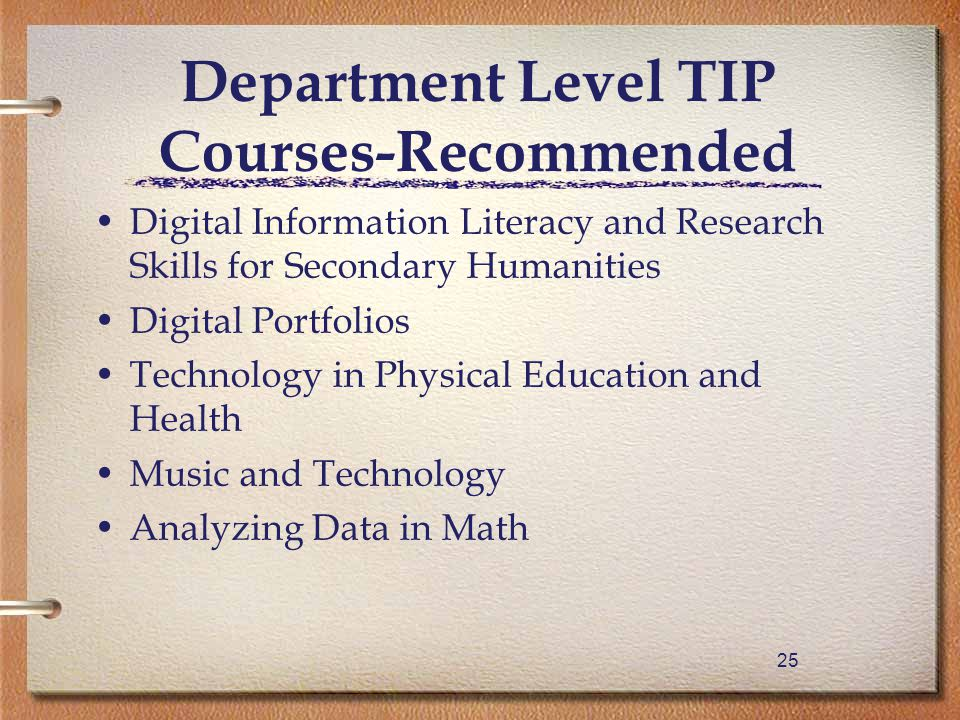 25 Department Level TIP Courses-Recommended Digital Information Literacy and Research Skills for Secondary Humanities Digital Portfolios Technology in Physical Education and Health Music and Technology Analyzing Data in Math