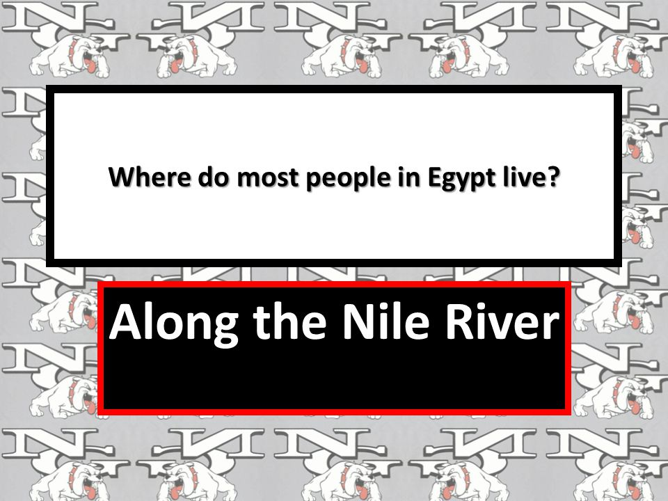 Where do most people in Egypt live Along the Nile River