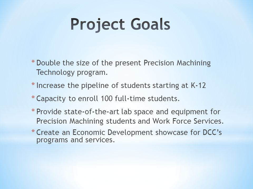 * Double the size of the present Precision Machining Technology program.