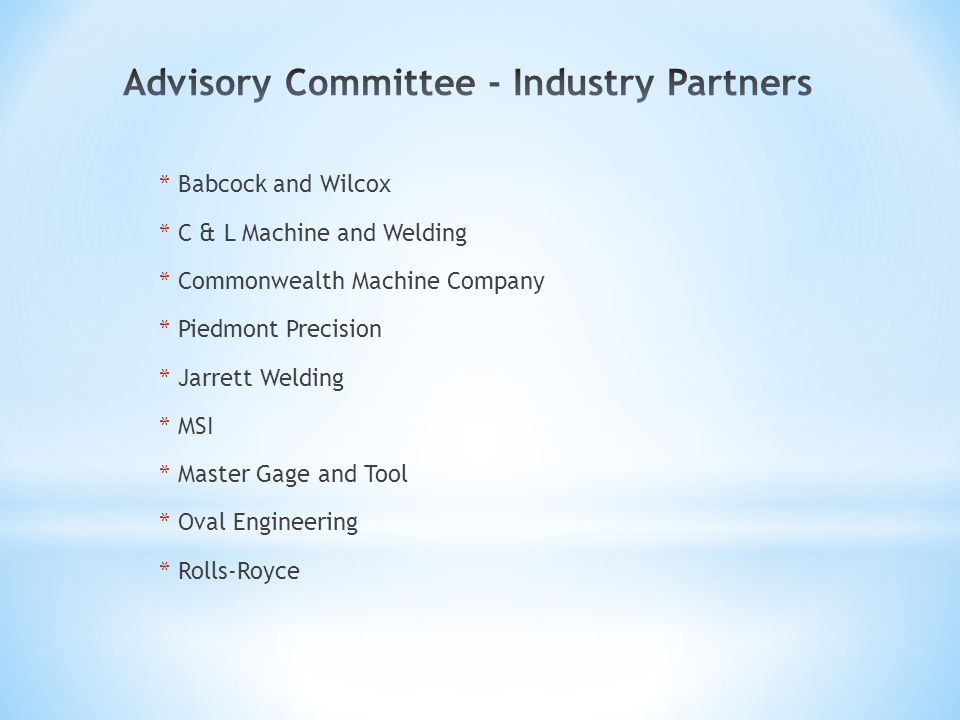 * Babcock and Wilcox * C & L Machine and Welding * Commonwealth Machine Company * Piedmont Precision * Jarrett Welding * MSI * Master Gage and Tool * Oval Engineering * Rolls-Royce
