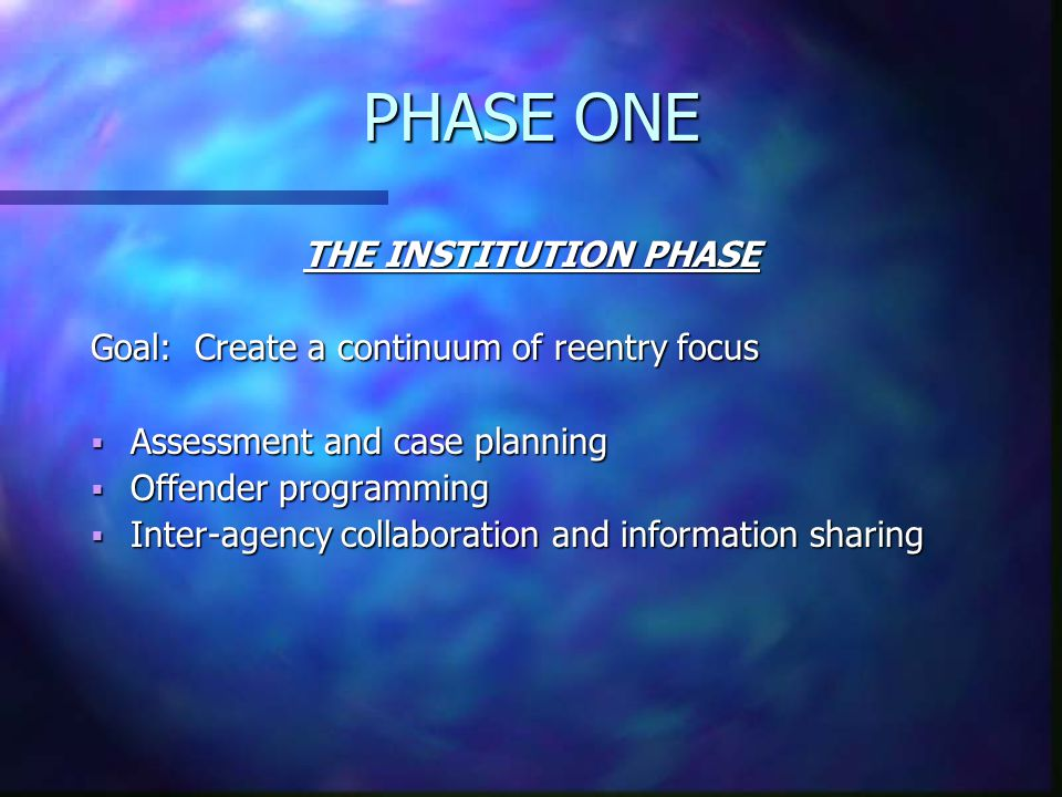 PHASE ONE THE INSTITUTION PHASE Goal: Create a continuum of reentry focus  Assessment and case planning  Offender programming  Inter-agency collaboration and information sharing