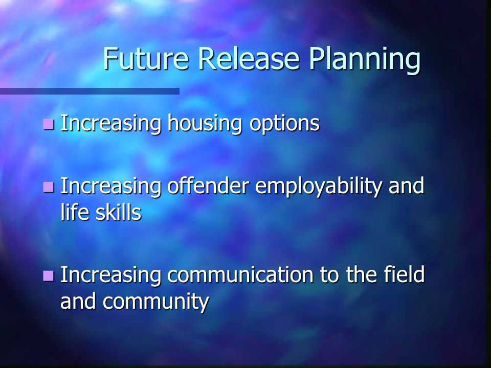 Future Release Planning Increasing housing options Increasing housing options Increasing offender employability and life skills Increasing offender employability and life skills Increasing communication to the field and community Increasing communication to the field and community