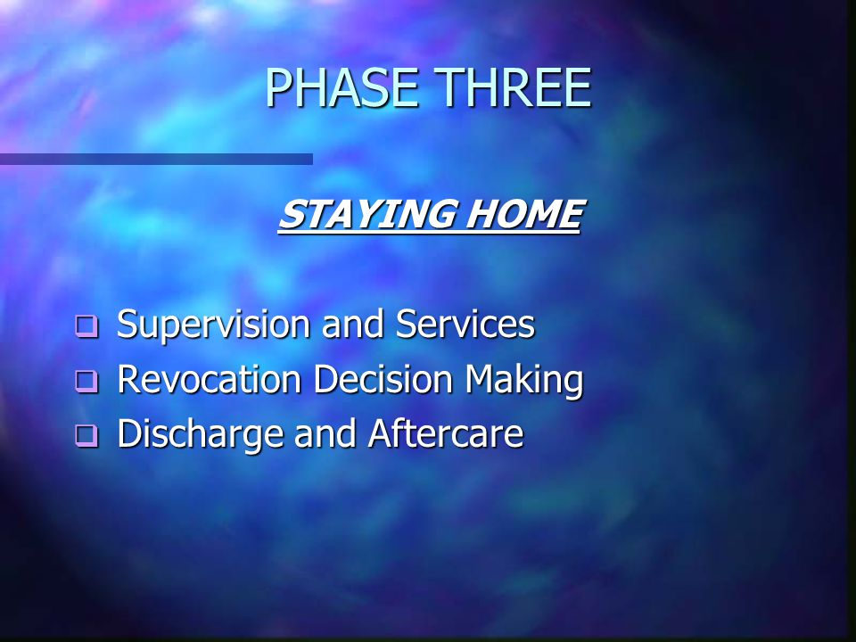 PHASE THREE STAYING HOME  Supervision and Services  Revocation Decision Making  Discharge and Aftercare