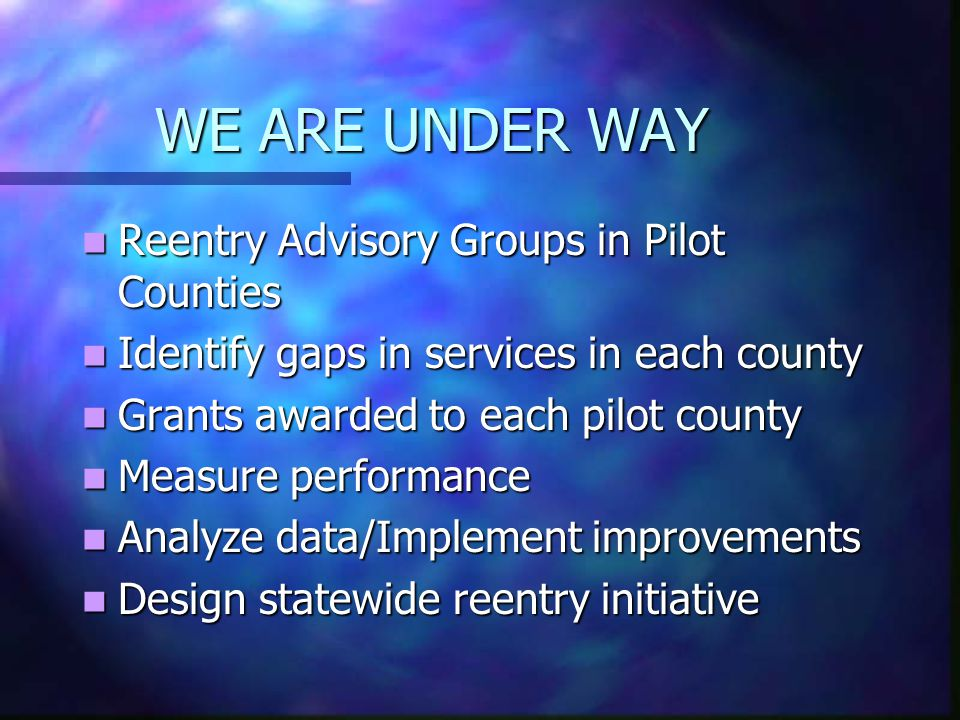 WE ARE UNDER WAY Reentry Advisory Groups in Pilot Counties Reentry Advisory Groups in Pilot Counties Identify gaps in services in each county Identify gaps in services in each county Grants awarded to each pilot county Grants awarded to each pilot county Measure performance Measure performance Analyze data/Implement improvements Analyze data/Implement improvements Design statewide reentry initiative Design statewide reentry initiative