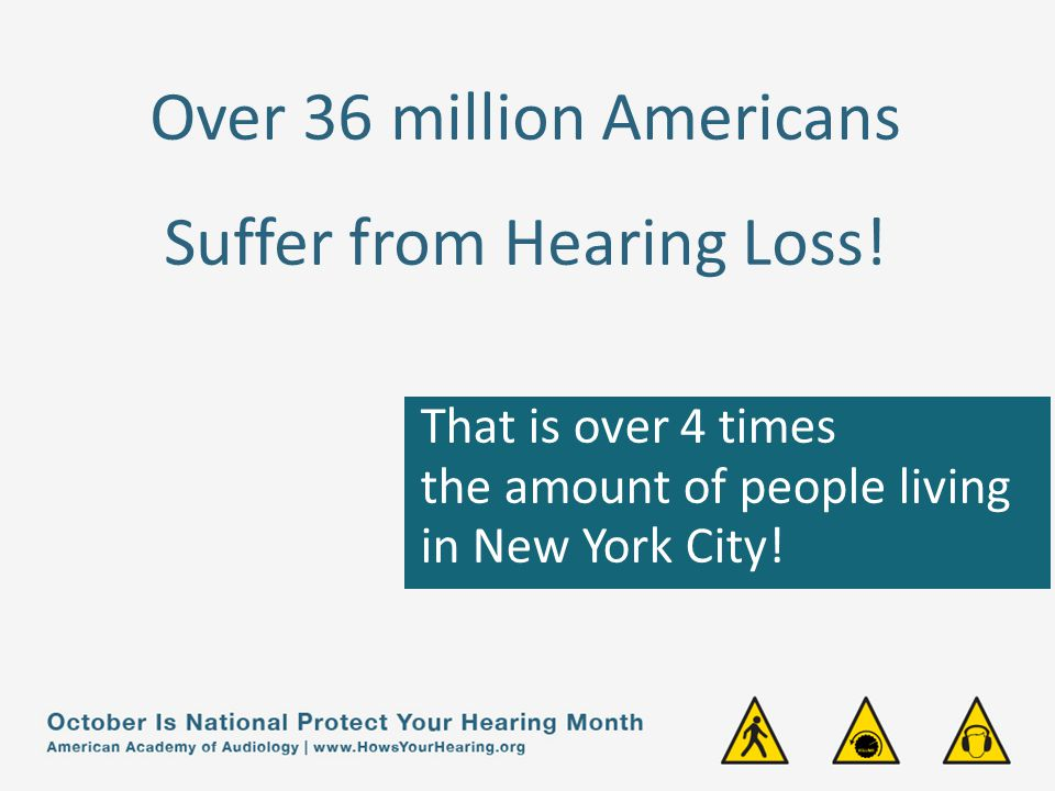Over 36 million Americans Suffer from Hearing Loss.