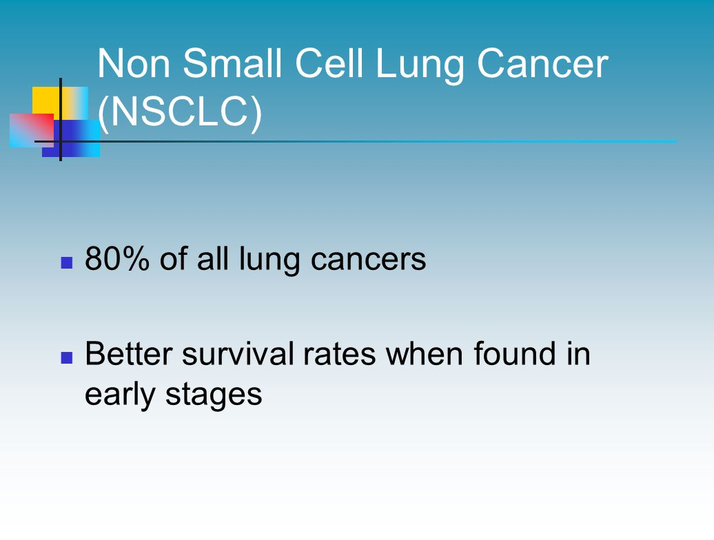 Non Small Cell Lung Cancer (NSCLC) 80% of all lung cancers Better survival rates when found in early stages