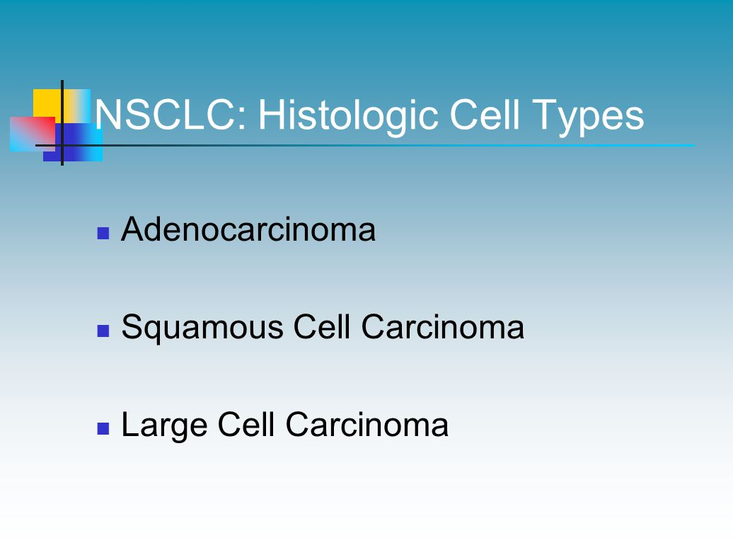 NSCLC: Histologic Cell Types Adenocarcinoma Squamous Cell Carcinoma Large Cell Carcinoma