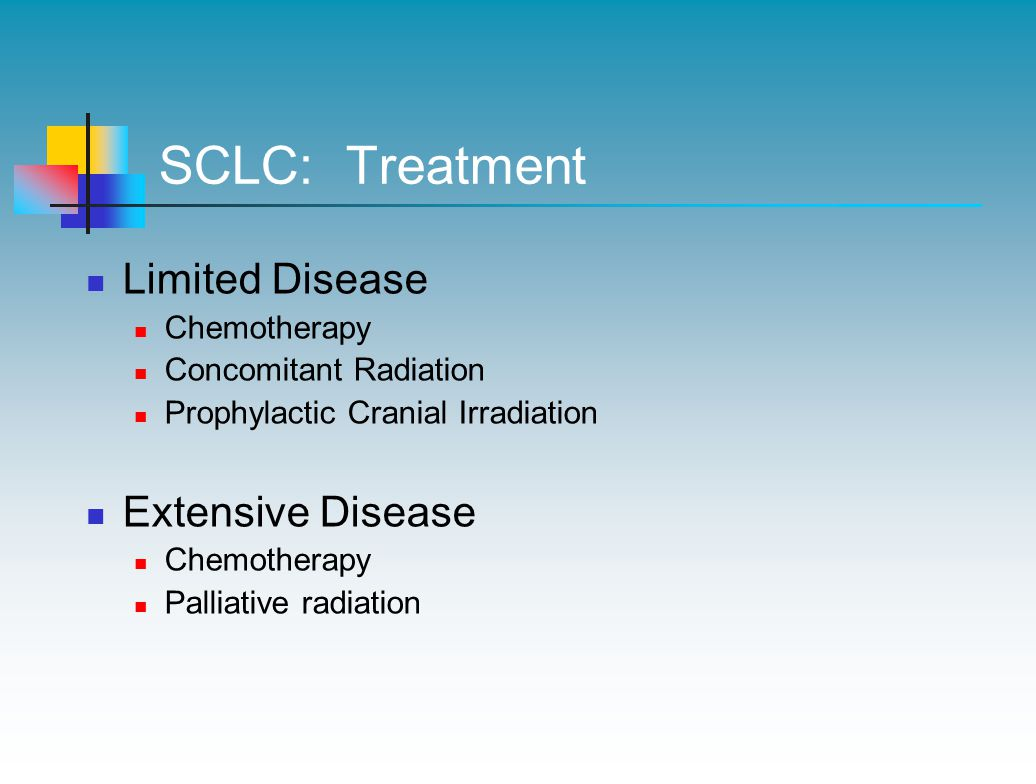 SCLC: Treatment Limited Disease Chemotherapy Concomitant Radiation Prophylactic Cranial Irradiation Extensive Disease Chemotherapy Palliative radiation