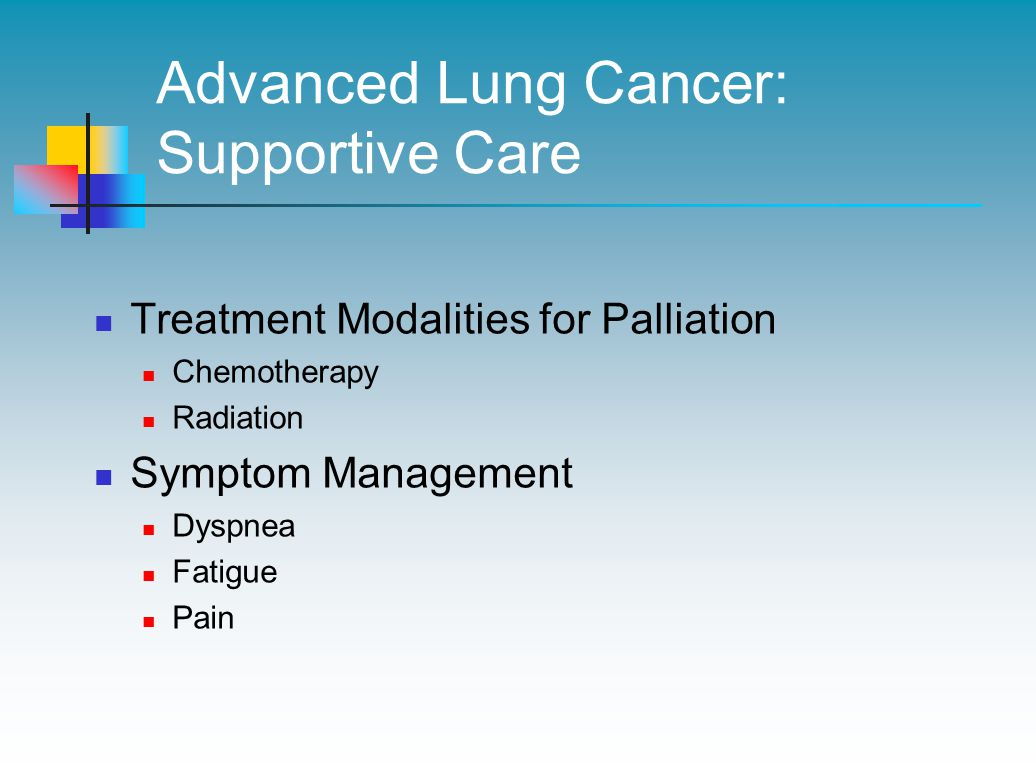 Advanced Lung Cancer: Supportive Care Treatment Modalities for Palliation Chemotherapy Radiation Symptom Management Dyspnea Fatigue Pain