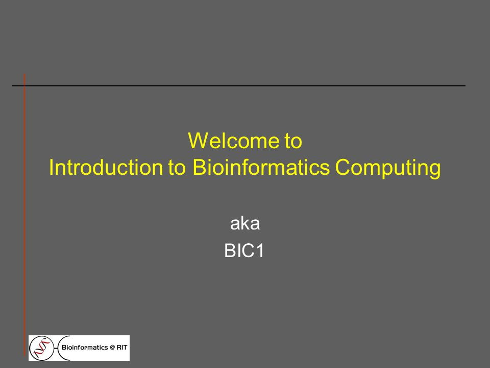 Welcome to Introduction to Bioinformatics Computing aka BIC1