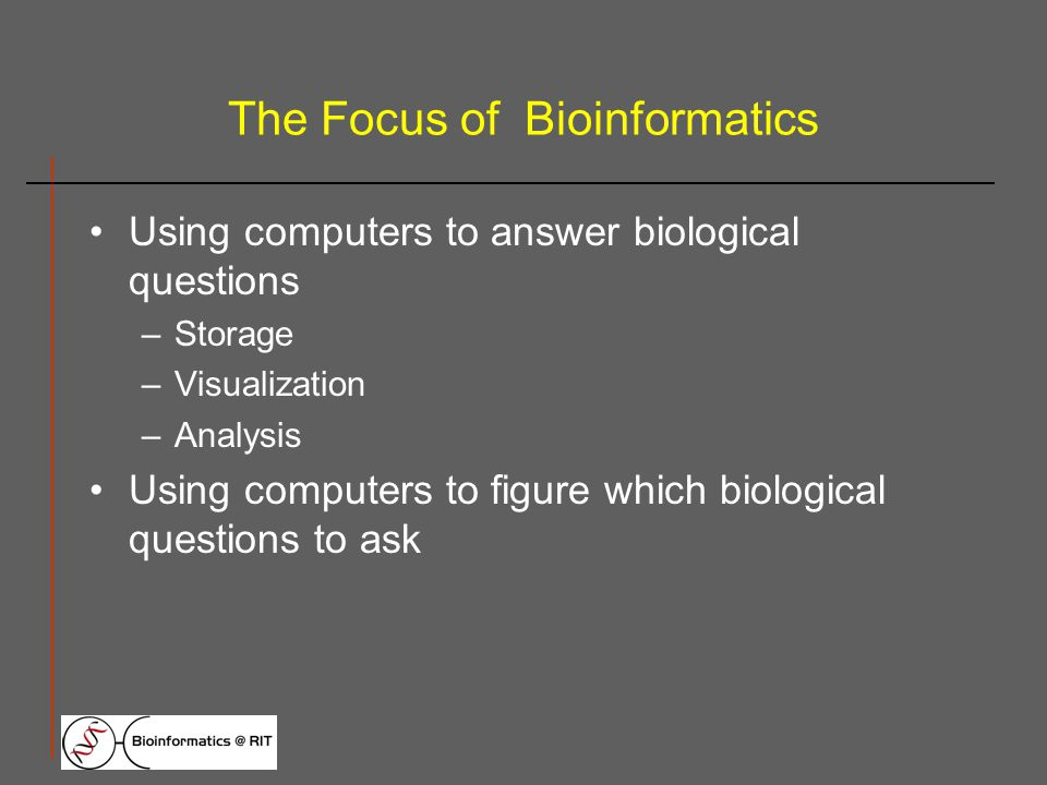 The Focus of Bioinformatics Using computers to answer biological questions –Storage –Visualization –Analysis Using computers to figure which biological questions to ask