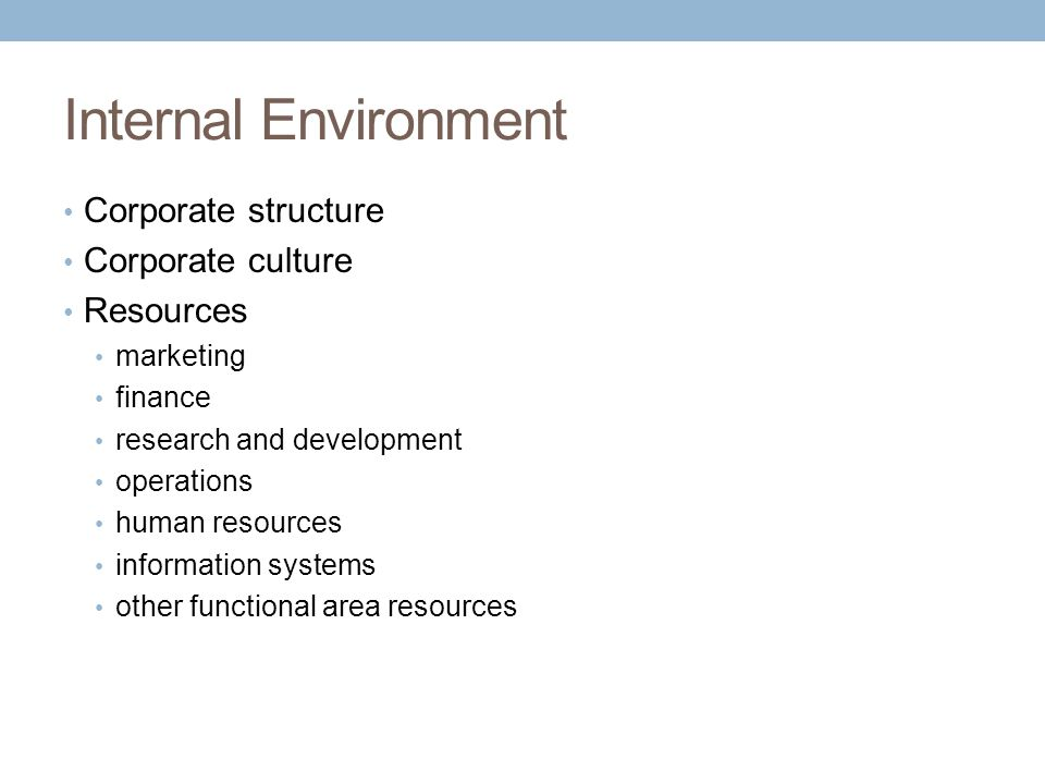 Internal Environment Corporate structure Corporate culture Resources marketing finance research and development operations human resources information systems other functional area resources