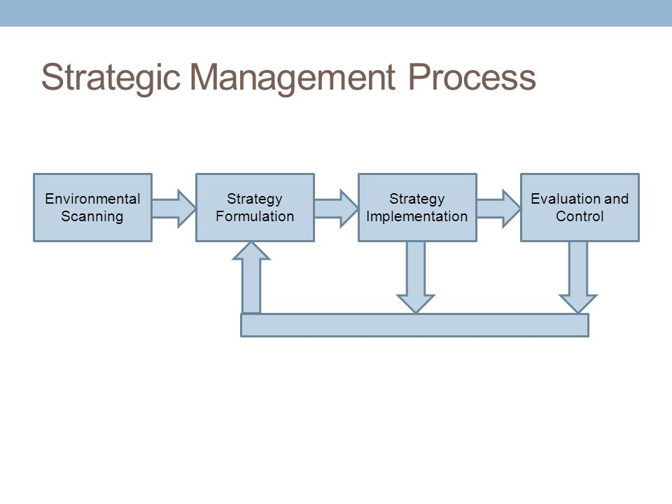 Strategic Management Process Environmental Scanning Strategy Formulation Strategy Implementation Evaluation and Control