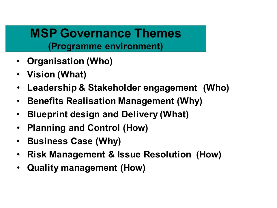 Ogcs managing successful programmes msp purpose of msp to provide 4 msp governance malvernweather Choice Image