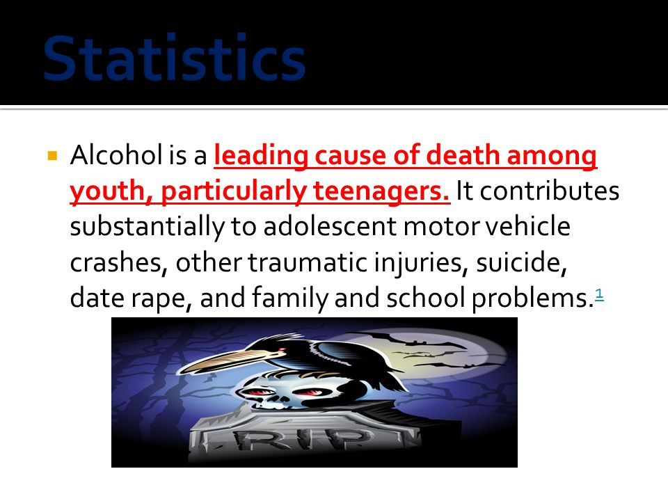  Alcohol is a leading cause of death among youth, particularly teenagers.